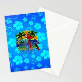 Island Time Surfing Blue Tropical Flowers Stationery Cards