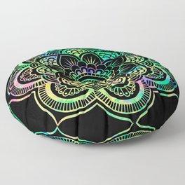 Neon Psychedelic Mandala Floor Pillow