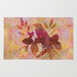Bird and Leaf Illustration in warm colors Rug