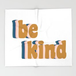 Be Kind Fun Retro Lettering Throw Blanket