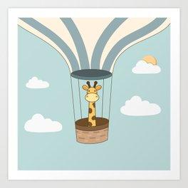 Kawaii Cute Giraffe On A Hot Air Balloon Art Print
