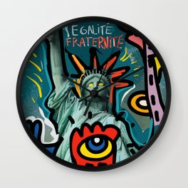 Liberté égalité fraternité Street Art French Graffiti Wall Clock