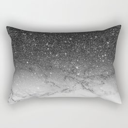 Stylish faux black glitter ombre white marble pattern Rectangular Pillow