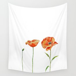Simply poppy Vintage Watercolor illustration on white background Wall Tapestry