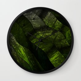 Green lines in dirty gradient pattern Wall Clock