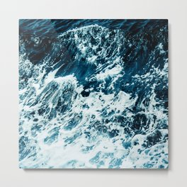 Disobedience - ocean waves painting texture Metal Print