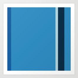 An unthinkable palette of Light Blue, Windows Blue, Dark Blue Grey and Peacock Blue vertical stripes. Art Print