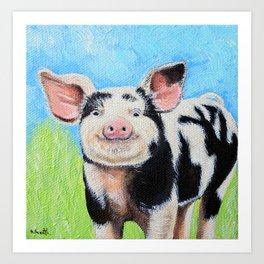 Happy Pig Painting Art Print