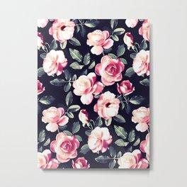 Moody Vintage Rose Chintz in Peach Pink Metal Print