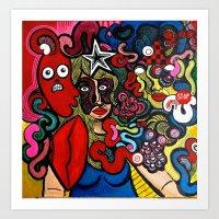 inner demons Art Prints featuring Her Inner Demons by TB8S Design