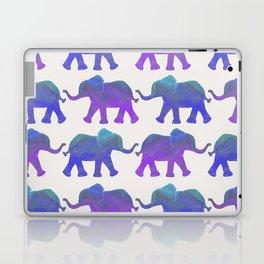 Follow The Leader - Painted Elephants in Royal Blue, Purple, & Mint Laptop & iPad Skin