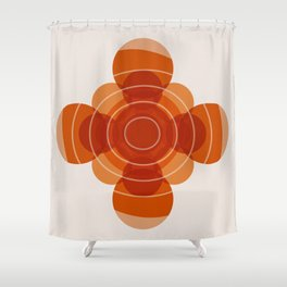 Earthy Red Scandinavian Floral Design Shower Curtain