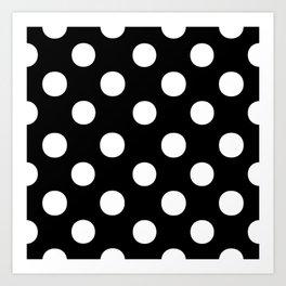 Polka Dots (White/Black) Art Print