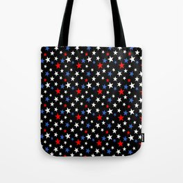Bold Patriotic Stars In Red White and Blue on Black Tote Bag