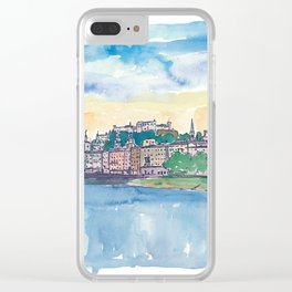 Salzburg Austria River Old Town and Castle Clear iPhone Case