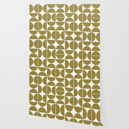 Mid Century Modern Geometric 04 Flat Gold Wallpaper