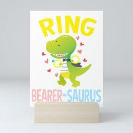 ring bearer dinosaur wedding kids Mini Art Print