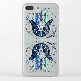 Hamsa Hand – Navy Palette Clear iPhone Case