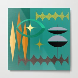 Watching The Watchers Mid Century Modern Geometric Abstract Metal Print
