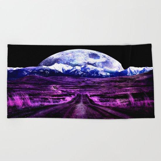 Highway to Eternity (moon mountain) Fuchsia Beach Towel