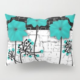 Turquoise flowers on black and white background . Pillow Sham