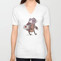rocket raccoon V-neck T-shirts featuring Rocket by Charleighkat