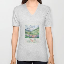 Lupins in the Mountains Unisex V-Neck