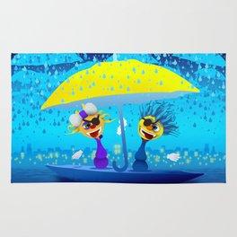 Cartoony pirates with yellow umbrella under moonlight Rug