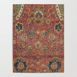 Persian Medallion Rug IV // 16th Century Distressed Red Green Blue Flowery Colorful Ornate Pattern Poster