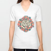 zentangle V-neck T-shirts featuring bengal mandala by Laura Graves