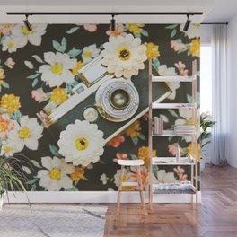 Floral Vintage Camera (Color) Wall Mural