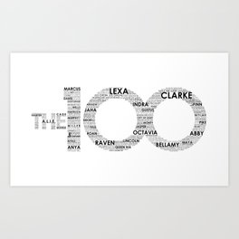 The 100 - Typography Art [black text] Art Print