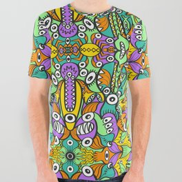 Tropical aquatic creatures in doodle art style forming a colorful pattern design All Over Graphic Tee