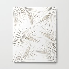 White Gold Palm Leaves on White Metal Print