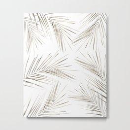 White Gold Palm Leaves on White Metal Print