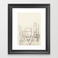 Cubic heads Framed Art Print