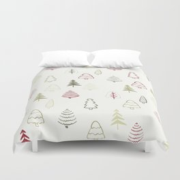 Winter Trees in Snowy Day Duvet Cover