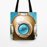 underwater Tote Bags featuring Underwater by Texnotropio