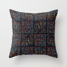 total psychedelic mess pattern Throw Pillow