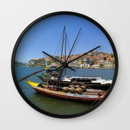 Port wine barges on the Douro Wall Clock