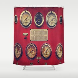 Old Gauges on a Fire Truck Shower Curtain