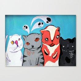 Technicolour Dream Cats Canvas Print