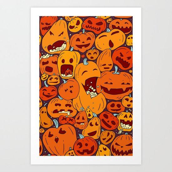 Halloween pumpkin pattern Art Print