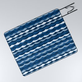 Classic Blue Wave Pattern Picnic Blanket