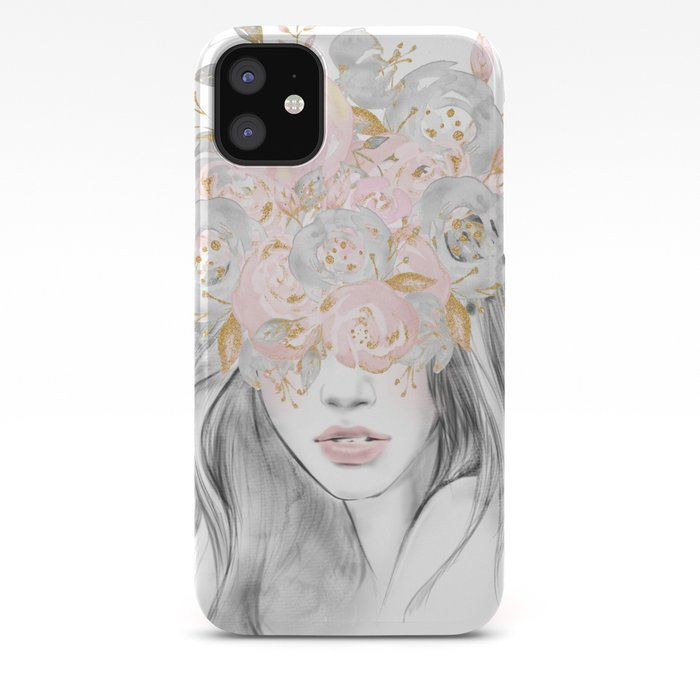 She Wore Flowers In Her Hair Rose Gold By Nature Magick Iphone Case By Naturemagick Society6