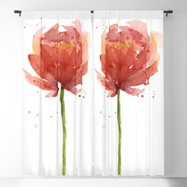 Red Flower Watercolor Floral Painting Blackout Curtain