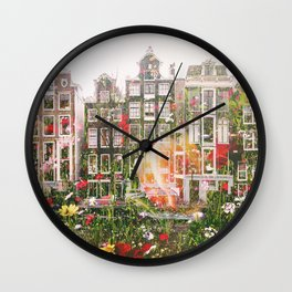 Flowers in Amsterdam Wall Clock