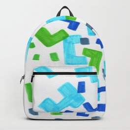 Minimalist Abstract Mid Century Modern Colorful Patterns Green Blue Shapes Backpack