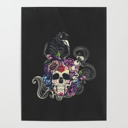Colorful floral sugar skull with flowers and black raven Poster