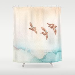 Blue-Winged Teals Shower Curtain